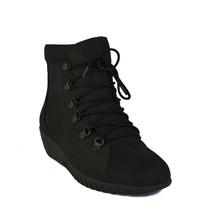Rockport EVOSA Low Boots Black Leather Platform Wedge Womens