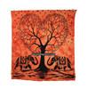 Orange Heart Tree Elephant Wall Tapestry Mandla tape Art Tie & Dye Beach Hanging Tapestries Hippie Manufacturer In India Jaipur