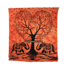 Orange Heart Tree Elephant Wall Tapestry Mandla tape Art Tie & Dye Beach Hanging Tapestries Hippie Manufacturer In India Jaipur