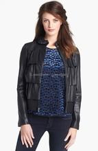 Women's Knit Trim Cupcake Leather Bomber Jacket