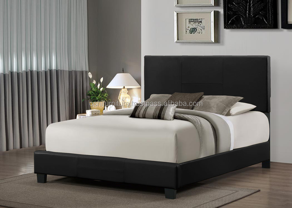 OS-HERMIS BED (black).jpg ... & Simple DesignBlank HeadboardFaux Leather BedDoubleQueenKing ...