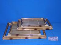Artex ThangLong - Antique Vietnam woven bamboo tea serving tray with handles