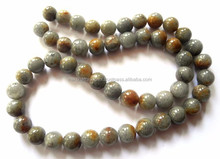 Gray & Yellow Round Smooth Loose Beads Strand