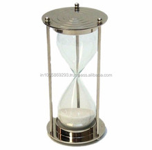 Solid Brass Sand Timer Hourglass Chrome 5 minute