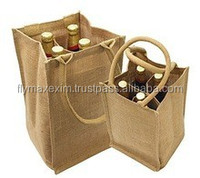 Jute/Buralp 4 Bottle Wine Bag with Divider 2015