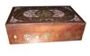 "WOODEN BOX WHITE ENAMEL & BRASS INLAY DESIGN (8""X 5""X 2.5"" )"