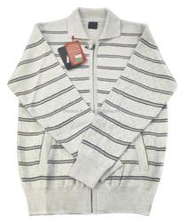 %50 Wool %50 Acrylic -Men's Zipper Cardigan Bone Color Direct from Manufacturer