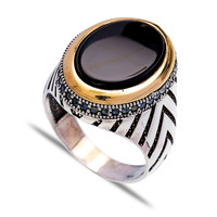 Wholesale 325 Handcrafted Turkish New Onyx Ring Silver Authentic Men Ring
