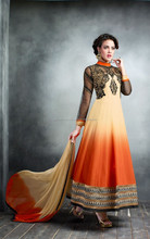 Orange and Cream color Stylish Long Designer Semi Stitch Salwar Kameez