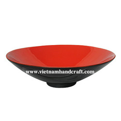 Quality eco friendly handmade bamboo lacquerware salad plates in red & black