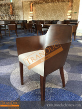 Beautiful arm chair/ restaurant chairs with wooden back and upholstered seat for restaurant furniture