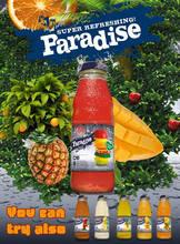 fruit juice in glass bottle