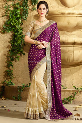 ADORABLE PURPLE AND BIGE EMBROIDERY SAREE WITH HEAVY LACE BORDER AND DESIGNER BLOUSE