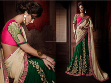 Cream & Green Color With Pink on mirror work & Cream Long Patch Border Elite Graceful Designer Sarees