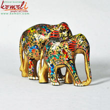 Hand Painted Decorative Elephants Made of Wood, Souvenir Elephant - Custom made colors and painting pattern
