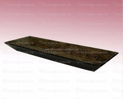 dark brown color , rectangular shape high quality , lacquered tray , lacquer tray , decoration vase , craft , Vietnam lacquer