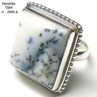 natural dendrite agate stone rings 925 solid sterling silver jewelry gemstone rings Handmade Silver Ring