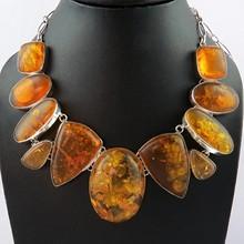 Hermoso diseño ámbar 925 collar de plata esterlina, plata de la piedra preciosa de la joyería, en línea de plata de la joyería