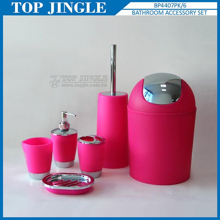 6 pcs conique conception en plastique rouge accessoires de bain ...
