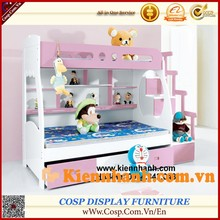 Lovely pink bunk bed with stair,drawer, desk set for children