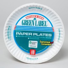 PAPER PLATES 9 INCH WHITE 40 CT GREEN LABEL #69124