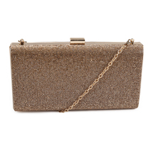 2015 New Style Design PU Leather Lady Diamante Hard Case Clutch Bag Party Evening Bag