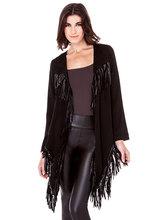 moda püskül asimetri uzun kollu kadın ceket