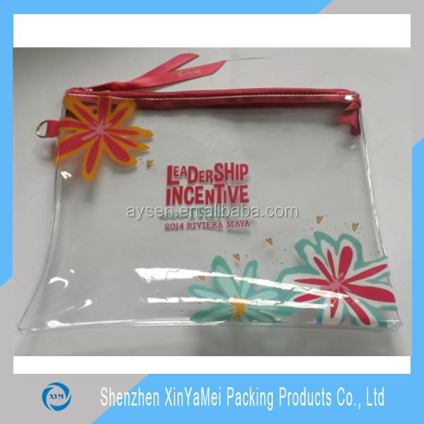 fancy custom pvc pencil bag with canvas zipper