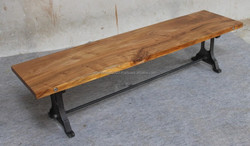Industrial bench with wooden top