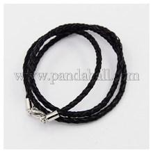 """Плетеный кожаные шнуры, для ожерелье задатки, с латунной застежкой омар застежками, платина, черный, 23 """" ; 3 мм NCOR-D002-584mm-17"""