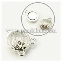 Alloy Magnetic Clasps, Flat Round, Basketball, Platinum, 19x16x10mm, Hole: 2mm PALLOY-E215-1P