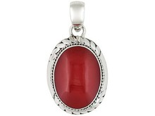 Oval Cabochon Red Coral Sterling Silver Pendant Web Only, Fair Trade, Silver Jewelry Price, Silver Prome Jewelry