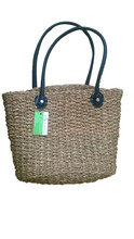 leather seagrass hand bag