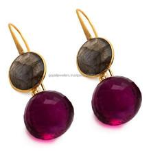 Pink Tourmaline Quartz Onion & Labradorite Gemstone Earrings