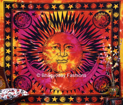 Indian Tapestry Gypsy Wall Hanging Throw Tie Dye Hippie Hippy Boho Bohemian Tye Die Hand-Loomed Window Curtain