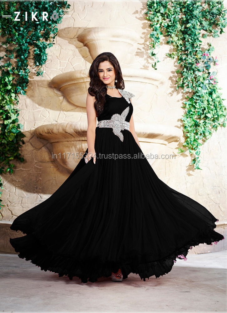 Online party wear designs floor touch eye catching evening for Floor touch gown