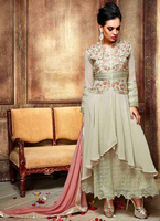 Dazzling Cream Embroidered Designer Anarkali Suits New Dress