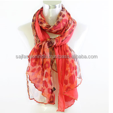 Woman lovely scarf printed shawl flower 100 long polyester scarf Scarves 2016