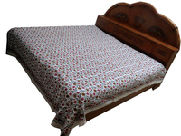 Indian Cotton Quilt Block Printed Bedspread Floral Bedcover Throw Bed sheet