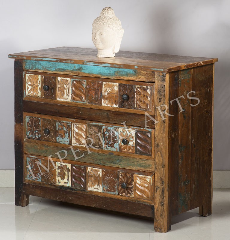 Indian Antique Look Recycle Wood 3 Drawer Chest Buy