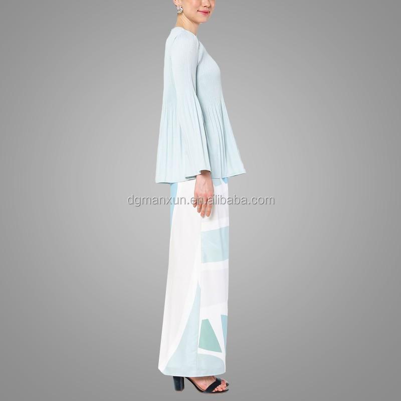 New fashion style muslim baju kurung printing islamic clothing flare sleeves top in malaysia2.jpg