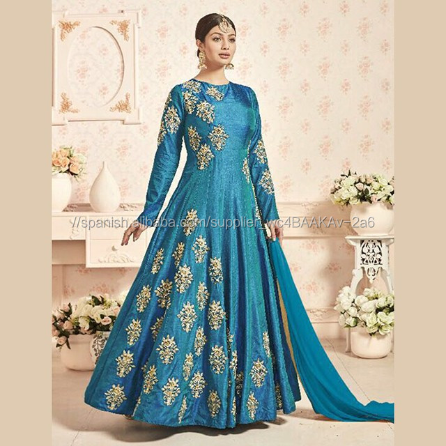 Sky Blue Tapeta Silk Wedding Wear Diamond Work Anarkali Style