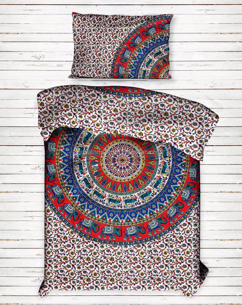 Indian Twin Mandala Reversible Duvet Doona Quilt Cover Pillow Cotton Comfoter
